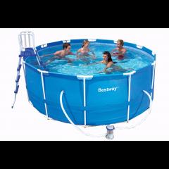 366х122 см,Bestway каркасный бассейн 10250л, фильтр-насос 2006л/ч, тент, лестница, подстилка(нет в наличии)