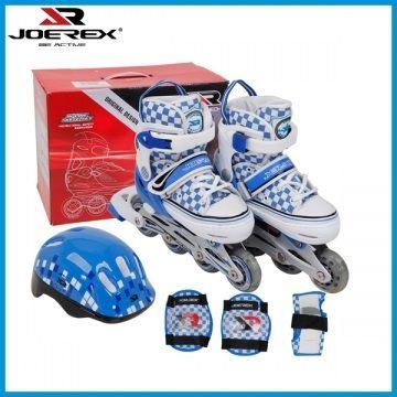 Детский роликовый комплект Joerex JCB11098 розовый, алюминиевая рама, ABEC-7,мигающие колеса